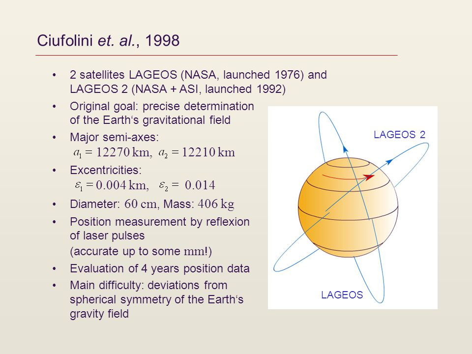Ciufolini et. al., 1998 2 satellites LAGEOS (NASA, launched 1976) and LAGEOS 2 (NASA + ASI, launched 1992) Original goal: precise determination of the