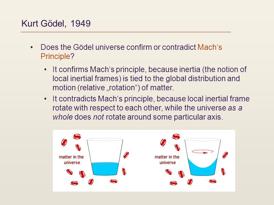 Kurt Gödel, 1949 Does the Gödel universe confirm or contradict Machs Principle? It confirms Machs principle, because inertia (the notion of local iner