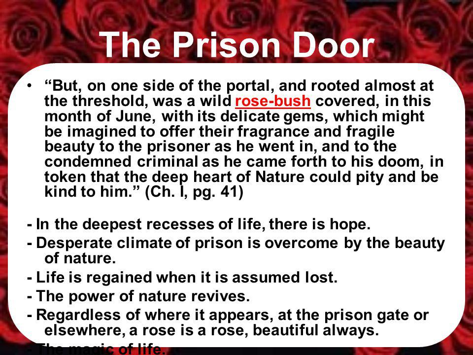 The Prison Door (2) This rose-bush, by a strange chance, has been kept alive in history; but whether it had merely survived out of the stern old wilderness, so long after the fall of the gigantic pines and oaks that originally overshadowed it… (Ch.
