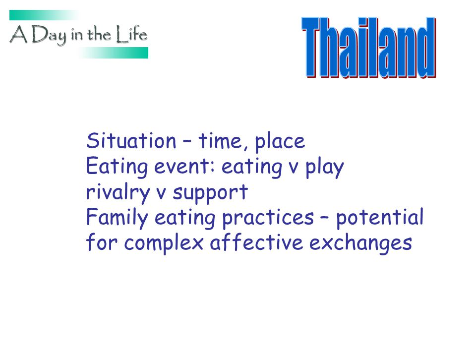 Situation – time, place Eating event: eating v play rivalry v support Family eating practices – potential for complex affective exchanges