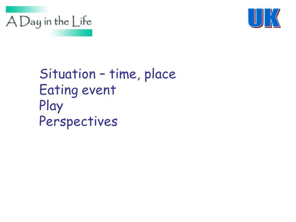 Situation – time, place Eating event Play Perspectives