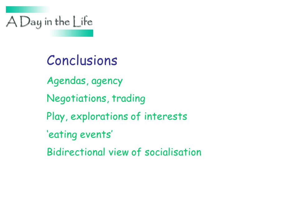 Conclusions Agendas, agency Negotiations, trading Play, explorations of interests eating events Bidirectional view of socialisation