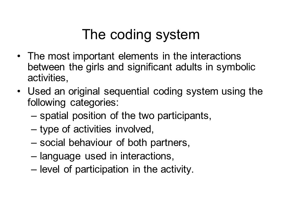 The most important elements in the interactions between the girls and significant adults in symbolic activities, Used an original sequential coding sy