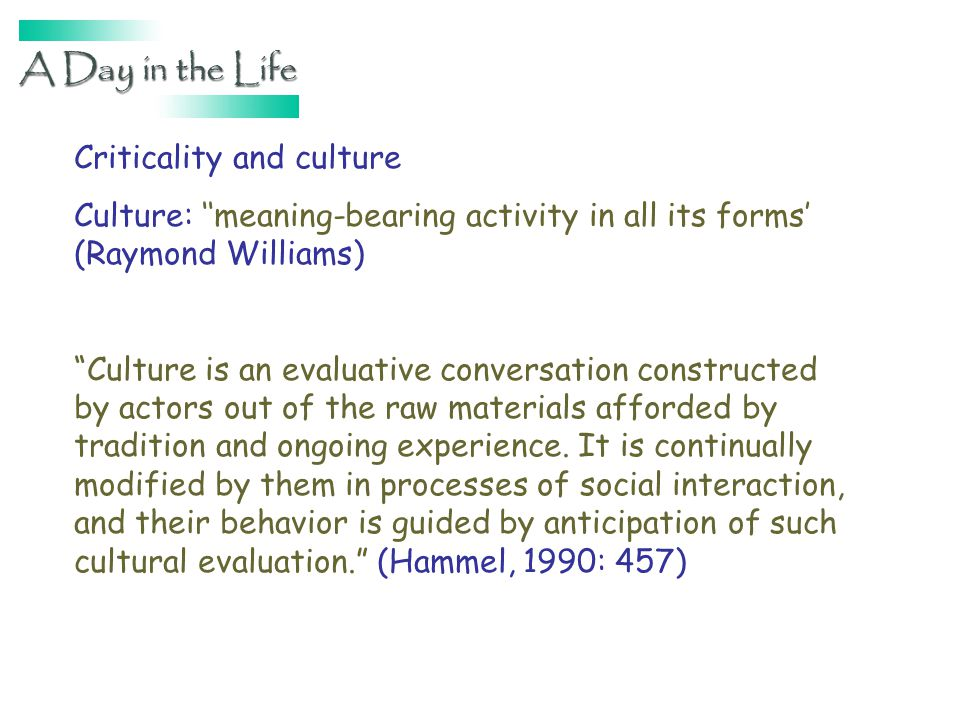 Criticality and culture Culture: meaning-bearing activity in all its forms (Raymond Williams) Culture is an evaluative conversation constructed by actors out of the raw materials afforded by tradition and ongoing experience.