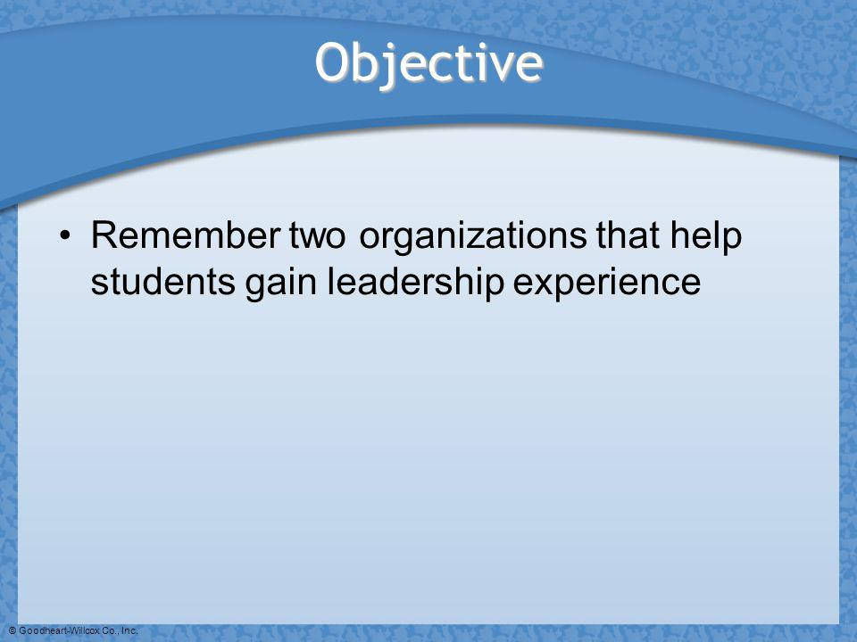 © Goodheart-Willcox Co., Inc. Objective Remember two organizations that help students gain leadership experience