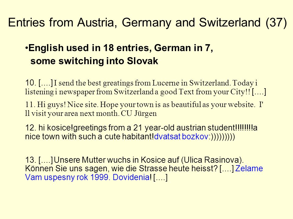 Entries from Austria, Germany and Switzerland (37) English used in 18 entries, German in 7, some switching into Slovak 10.
