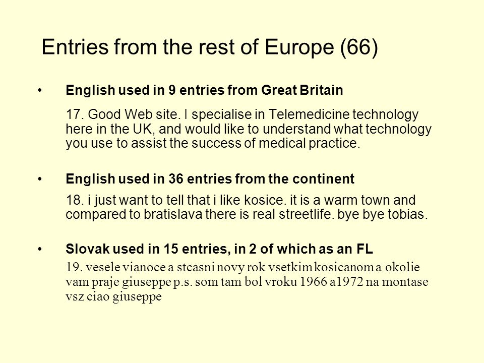 Entries from the rest of Europe (66) English used in 9 entries from Great Britain 17.