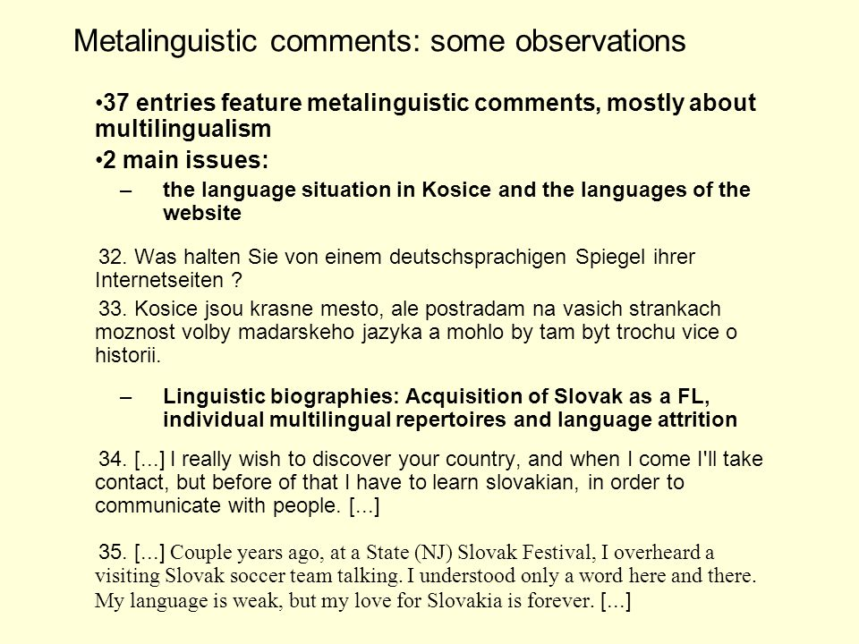 Metalinguistic comments: some observations 37 entries feature metalinguistic comments, mostly about multilingualism 2 main issues: –the language situation in Kosice and the languages of the website 32.