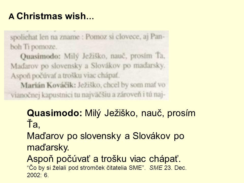 Quasimodo: Milý Ježiško, nauč, prosím Ťa, Maďarov po slovensky a Slovákov po maďarsky.