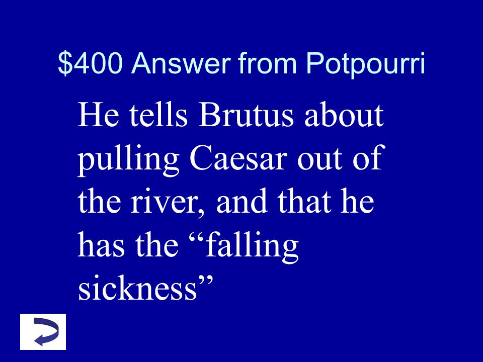 $400 Question from Potpourri What things does Cassius tell Brutus to prove that Caesar is just an ordinary man?