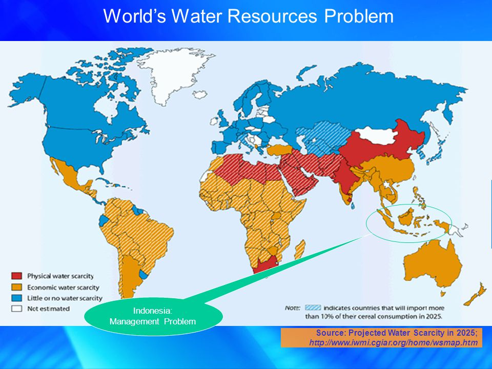 Worlds Water Resources Problem Source: Projected Water Scarcity in 2025; http://www.iwmi.cgiar.org/home/wsmap.htm Indonesia: Management Problem