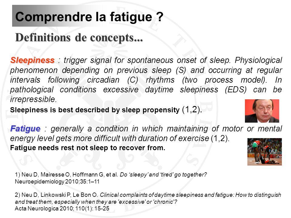 Definitions de concepts... 1) Neu D, Mairesse O, Hoffmann G, et al. Do sleepy and tired go together? Neuroepidemiology 2010;35:1–11 2) Neu D, Linkowsk