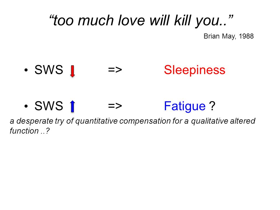 too much love will kill you.. SWS =>Sleepiness SWS=>Fatigue ? Brian May, 1988 a desperate try of quantitative compensation for a qualitative altered f