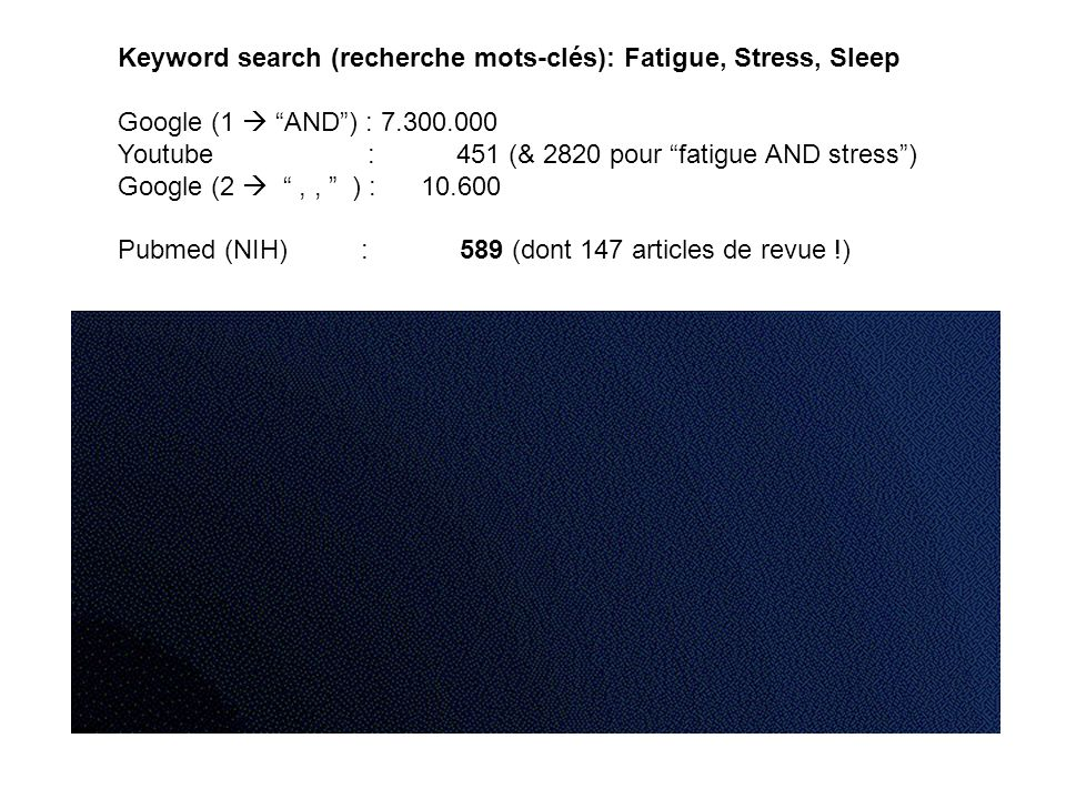 Keyword search (recherche mots-clés): Fatigue, Stress, Sleep Google (1 AND) : 7.300.000 Youtube : 451 (& 2820 pour fatigue AND stress) Google (2,, ) :