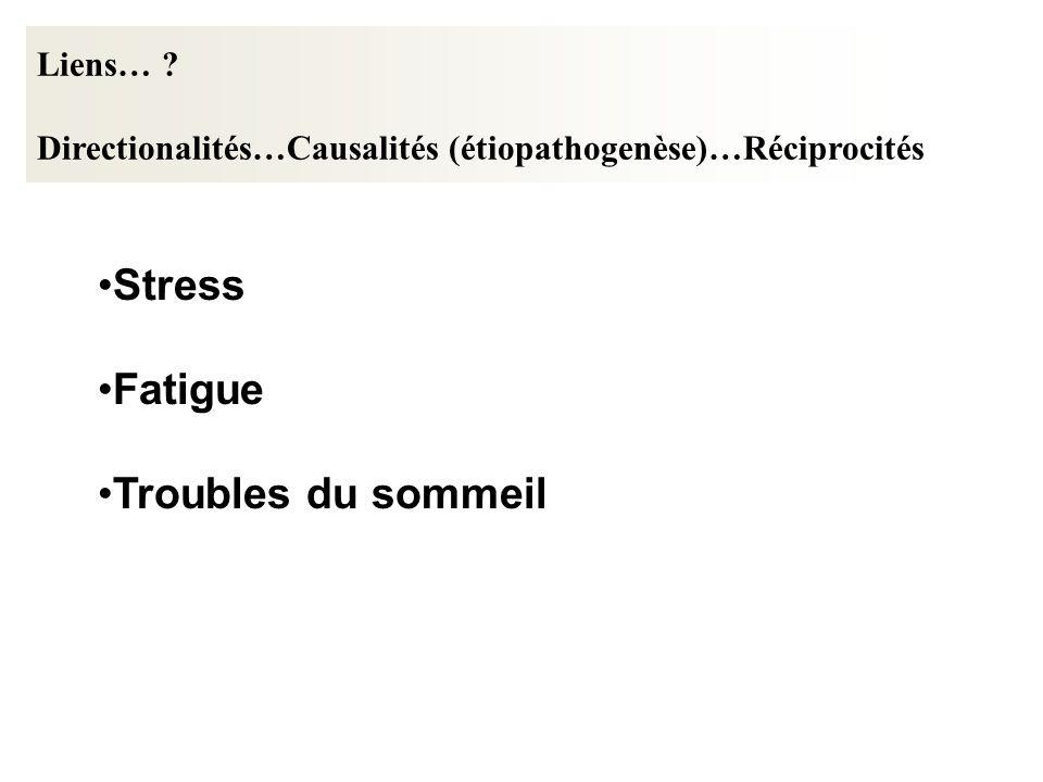 Stress Fatigue Troubles du sommeil Liens… ? Directionalités…Causalités (étiopathogenèse)…Réciprocités