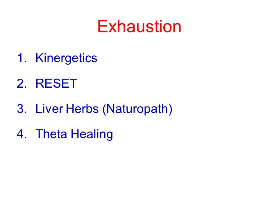 Exhaustion 1.Kinergetics 2.RESET 3.Liver Herbs (Naturopath) 4.Theta Healing