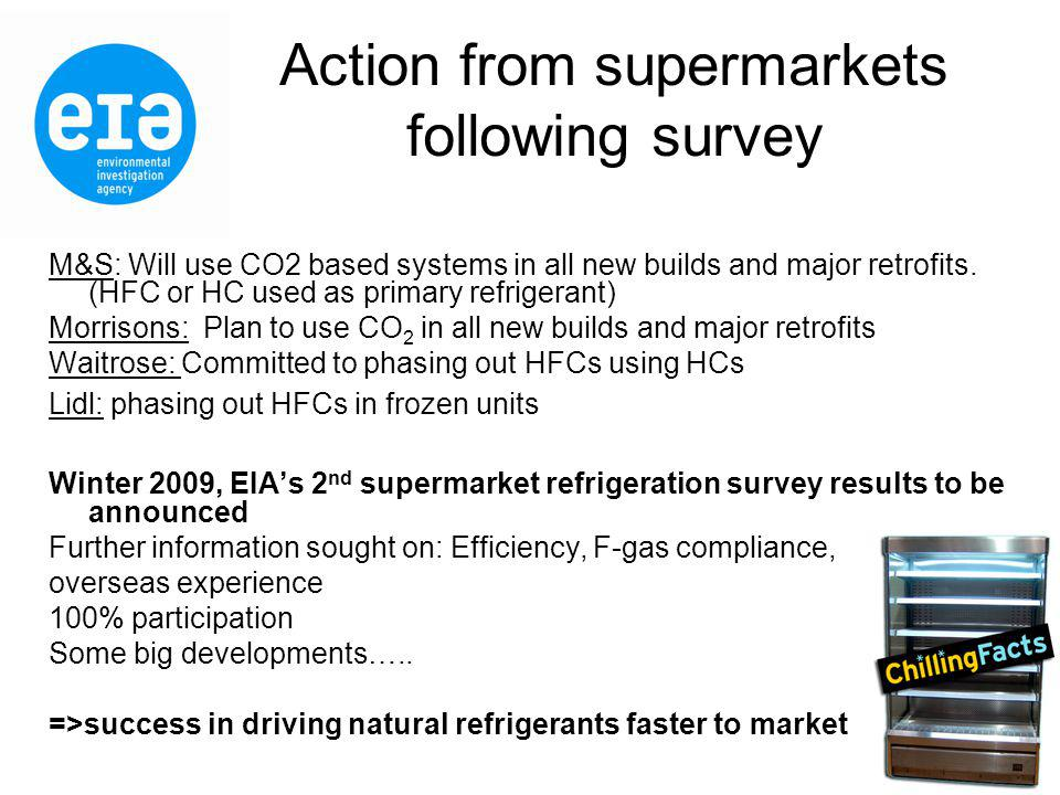 Action from supermarkets following survey M&S: Will use CO2 based systems in all new builds and major retrofits.