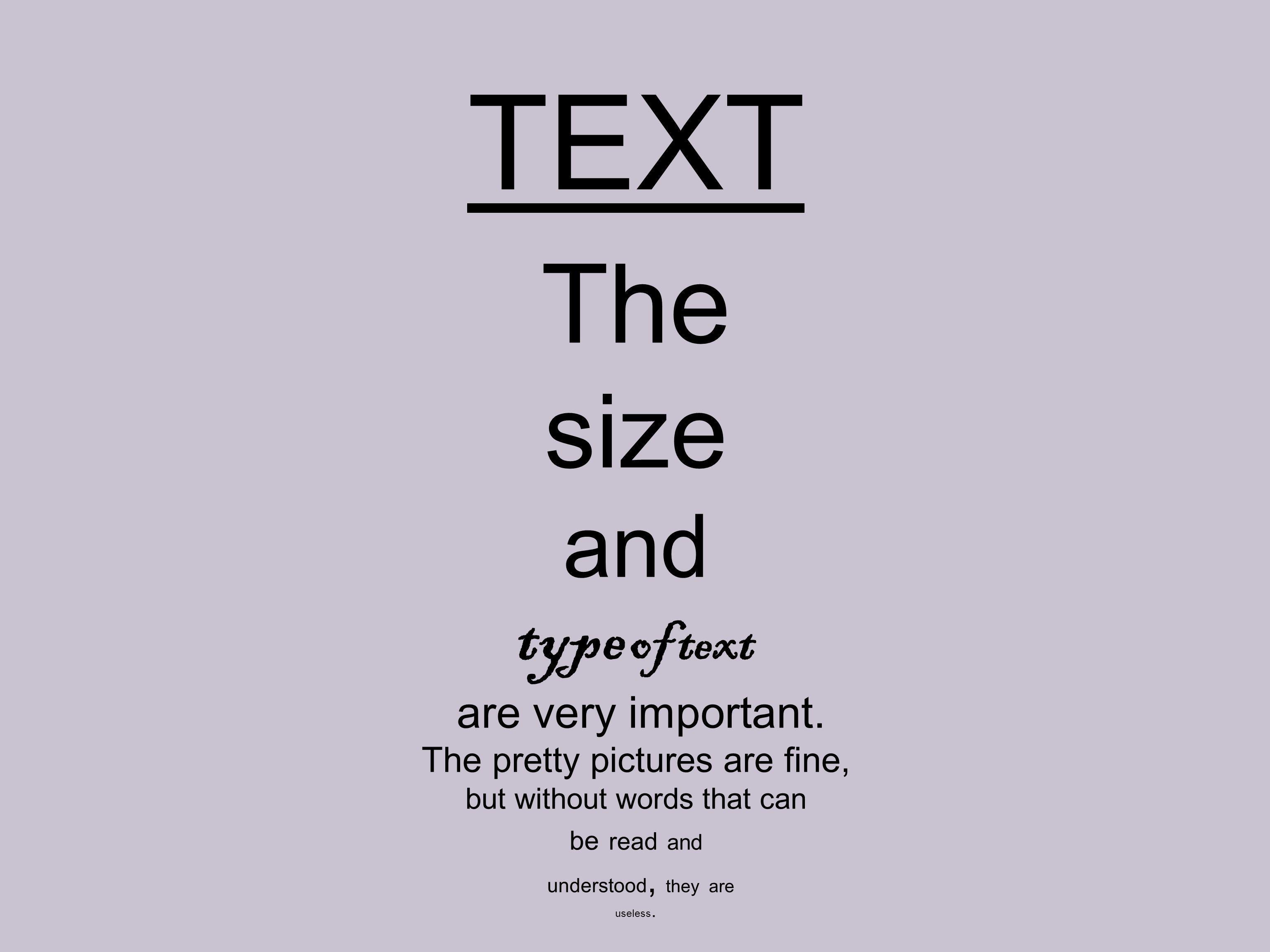 TEXT The size and type of text are very important. The pretty pictures are fine, but without words that can be read and understood, they are useless.