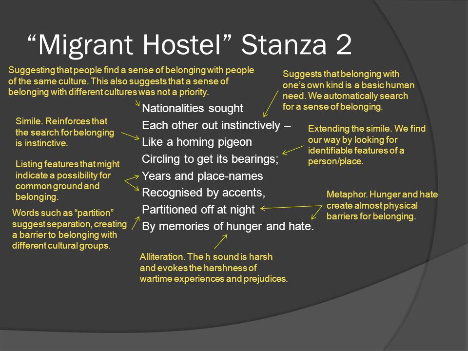 Migrant Hostel Stanza 3 For over two years We lived like birds of passage – Always sensing a change In the weather: Unaware of the season Whose track we would follow.