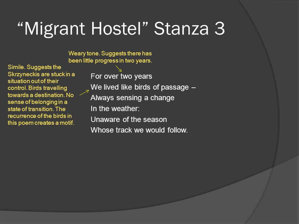 Migrant Hostel Stanza 3 For over two years We lived like birds of passage – Always sensing a change In the weather: Unaware of the season Whose track