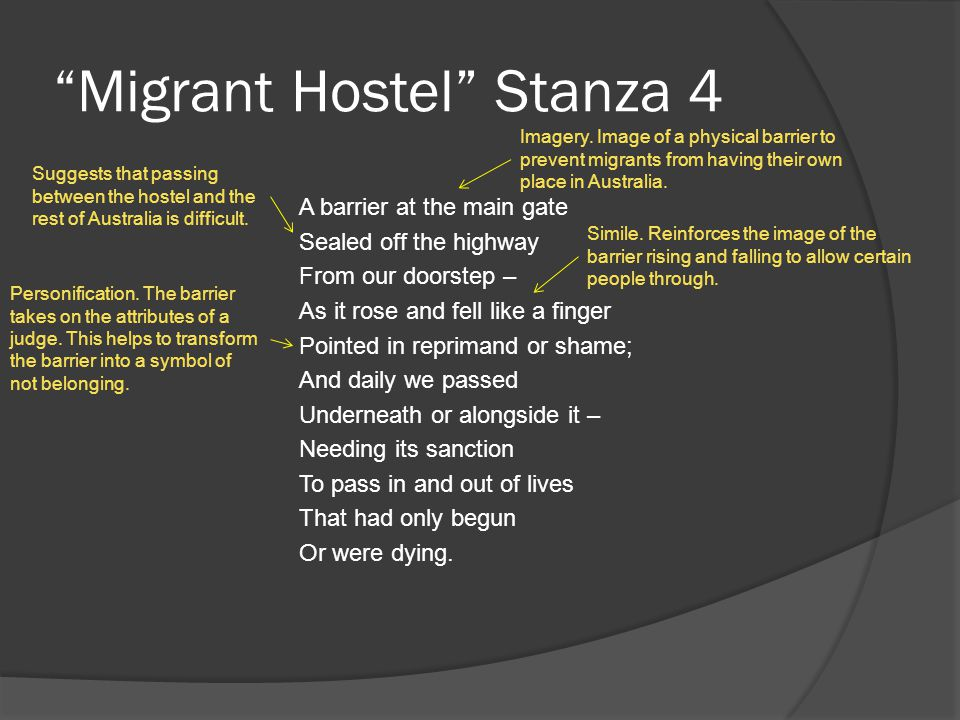 Migrant Hostel Stanza 4 A barrier at the main gate Sealed off the highway From our doorstep – As it rose and fell like a finger Pointed in reprimand or shame; And daily we passed Underneath or alongside it – Needing its sanction To pass in and out of lives That had only begun Or were dying.