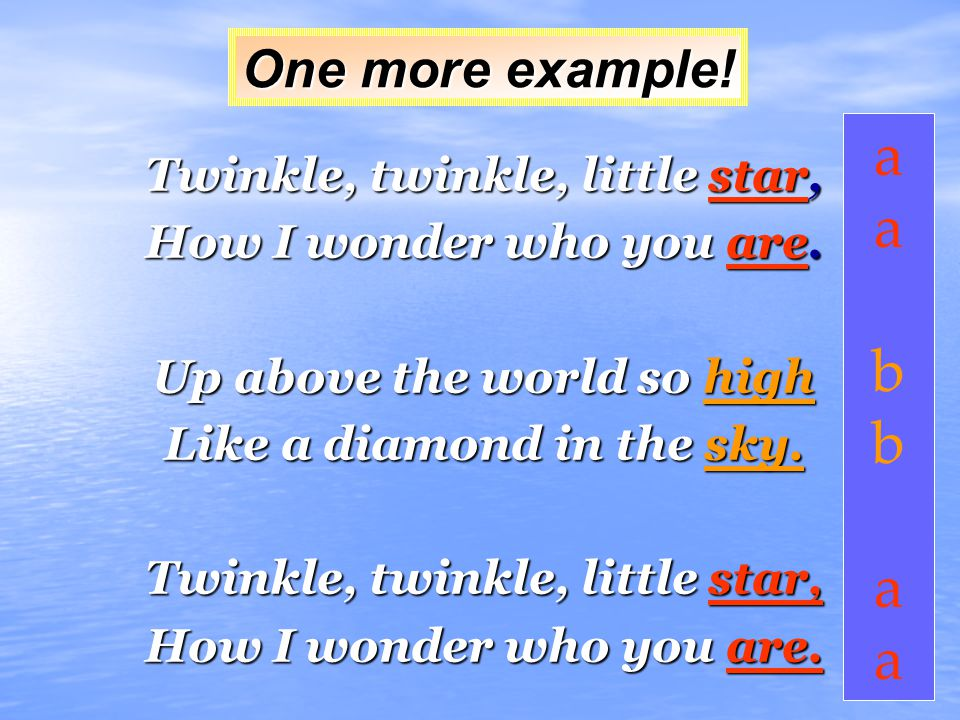 Rhyme Scheme Rhyme scheme is the pattern you arrange rhyming words in a poem. The most common way to show the pattern is to use English letters to rep