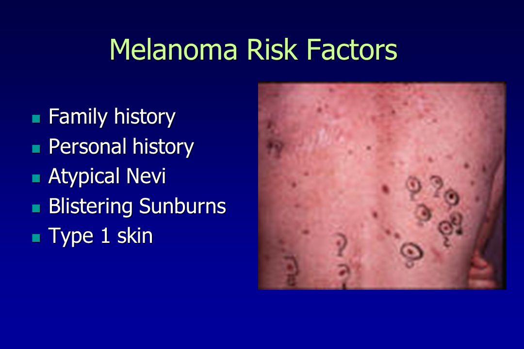 Melanoma Risk Factors Family history Family history Personal history Personal history Atypical Nevi Atypical Nevi Blistering Sunburns Blistering Sunburns Type 1 skin Type 1 skin