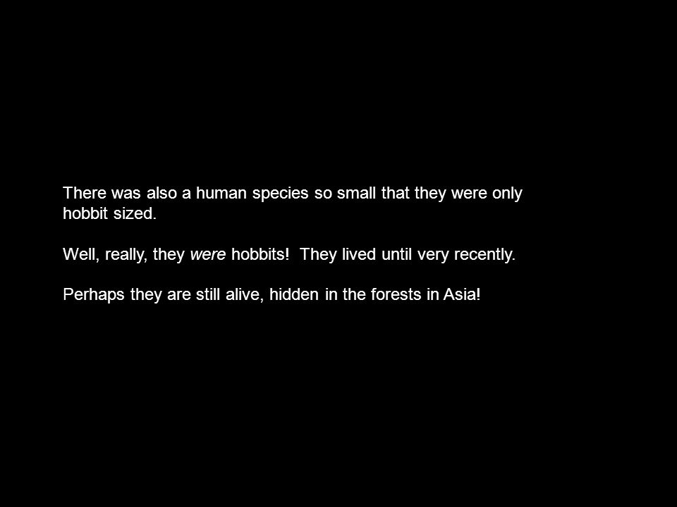There was also a human species so small that they were only hobbit sized.