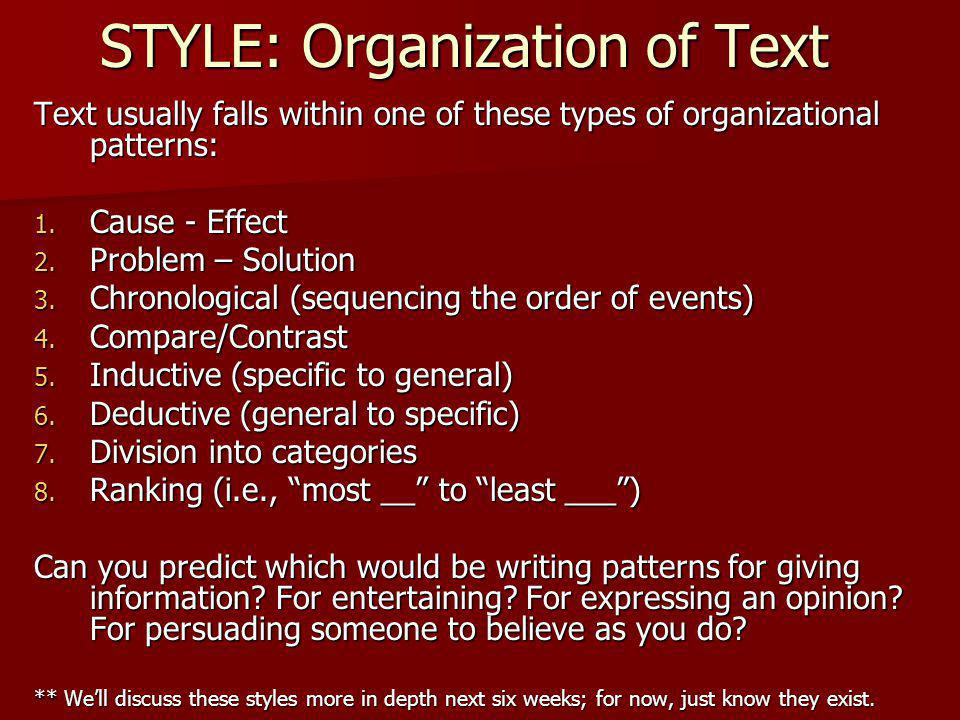 STYLE: Organization of Text Writing is organized in various ways, depending upon the authors purpose: to inform, to entertain, to express a belief/opi