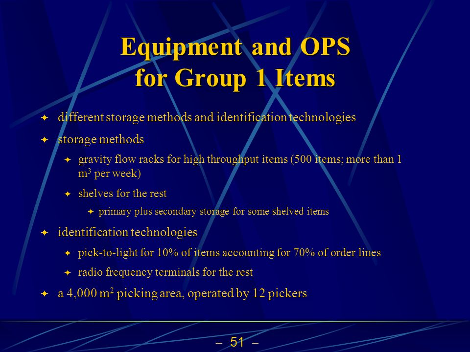 51 Equipment and OPS for Group 1 Items different storage methods and identification technologies storage methods gravity flow racks for high throughpu