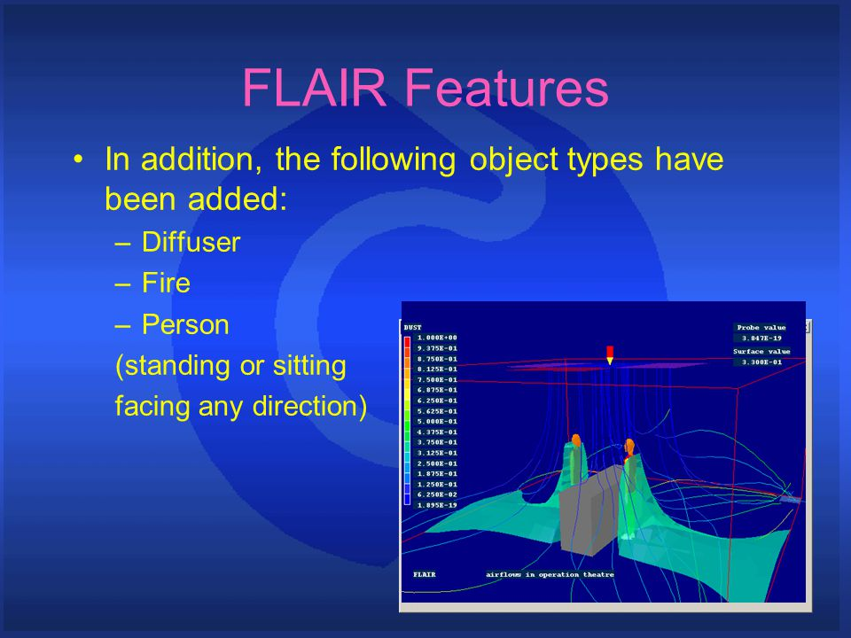 FLAIR Features In addition, the following object types have been added: –Diffuser –Fire –Person (standing or sitting facing any direction)