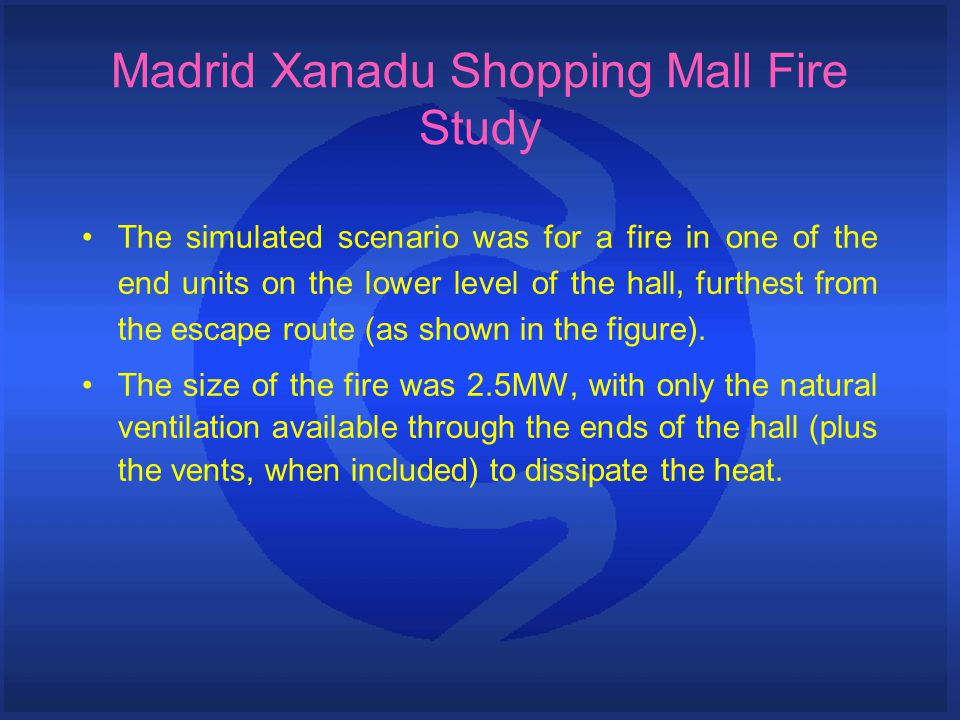 The simulated scenario was for a fire in one of the end units on the lower level of the hall, furthest from the escape route (as shown in the figure).
