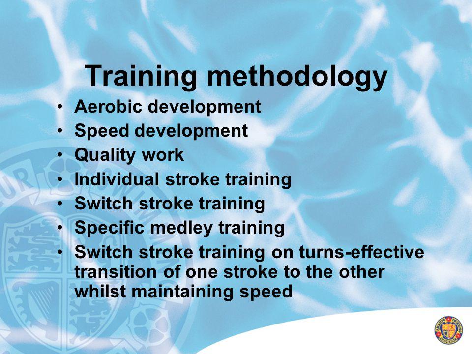 Training methodology Aerobic development Speed development Quality work Individual stroke training Switch stroke training Specific medley training Swi