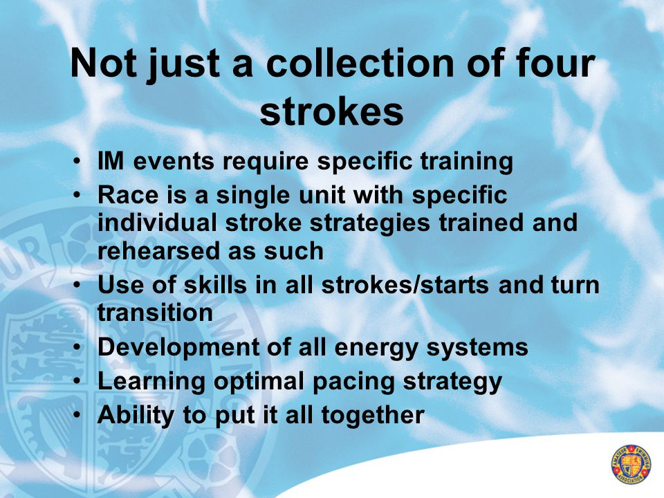 Tapering MUST be designed for each individual swimmer Males and Females require different approach Age of the swimmer must be taken into consideration Individual strokes must be taken into consideration