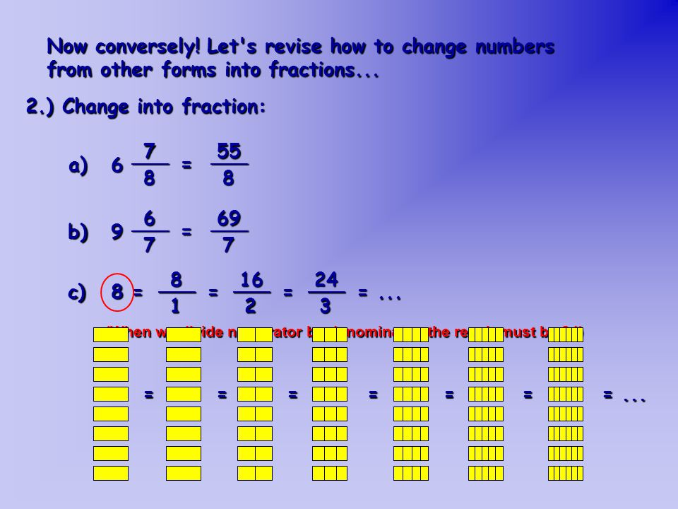 Now conversely.Let s revise how to change numbers from other forms into fractions...