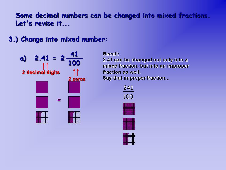 Some decimal numbers can be changed into mixed fractions.