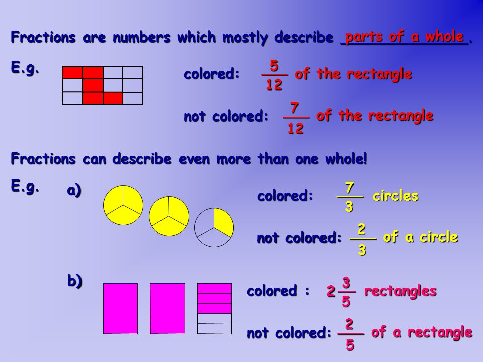 How to color: a) ___56 of a parallelogram? b) ___74 squares? c) ___13 rhombuses? 4