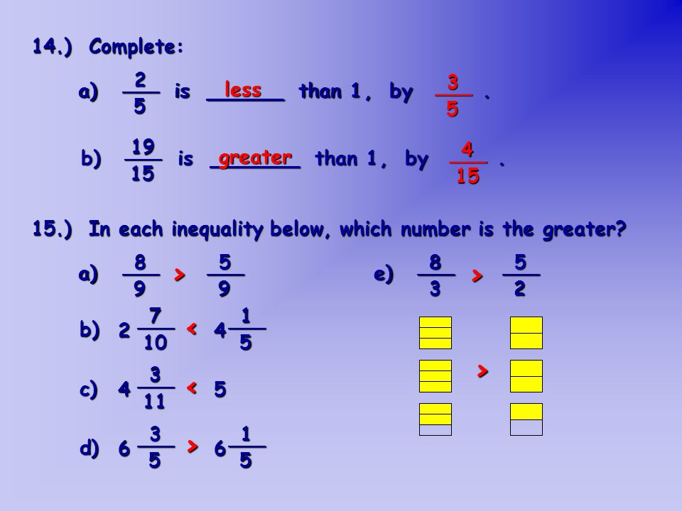 16.) Complete: a) If the numerator increases, then the fraction _____________.