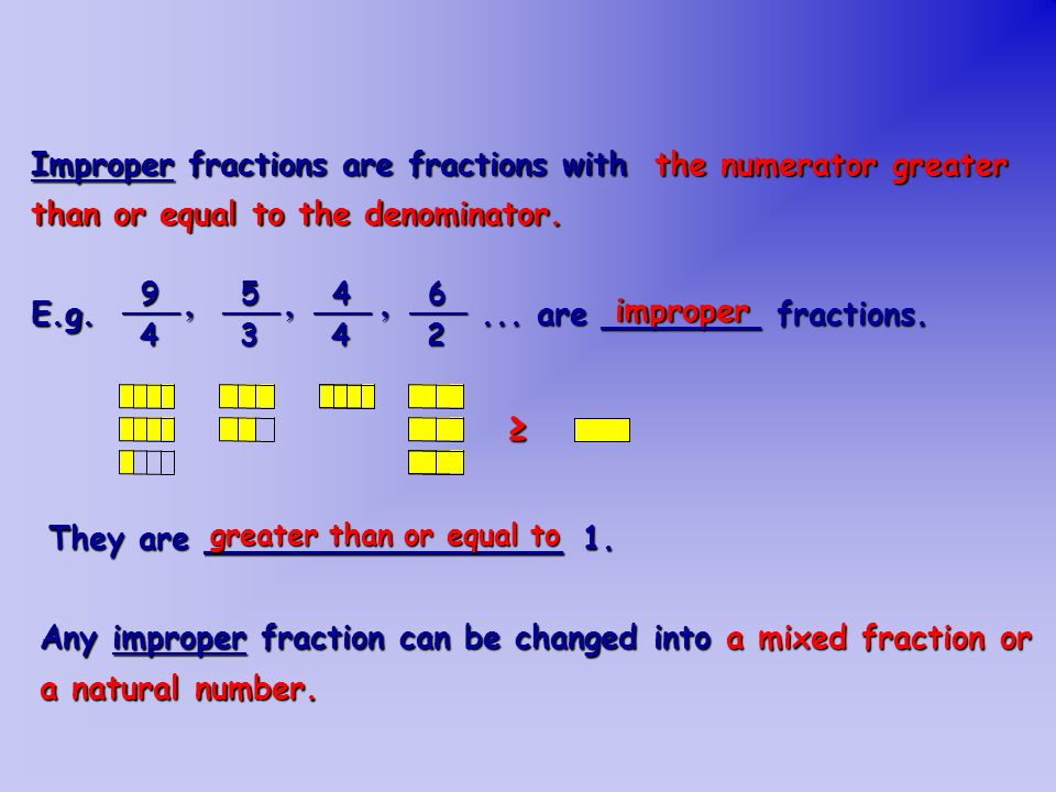 Which of these fractions can be changed into mixed fractions .