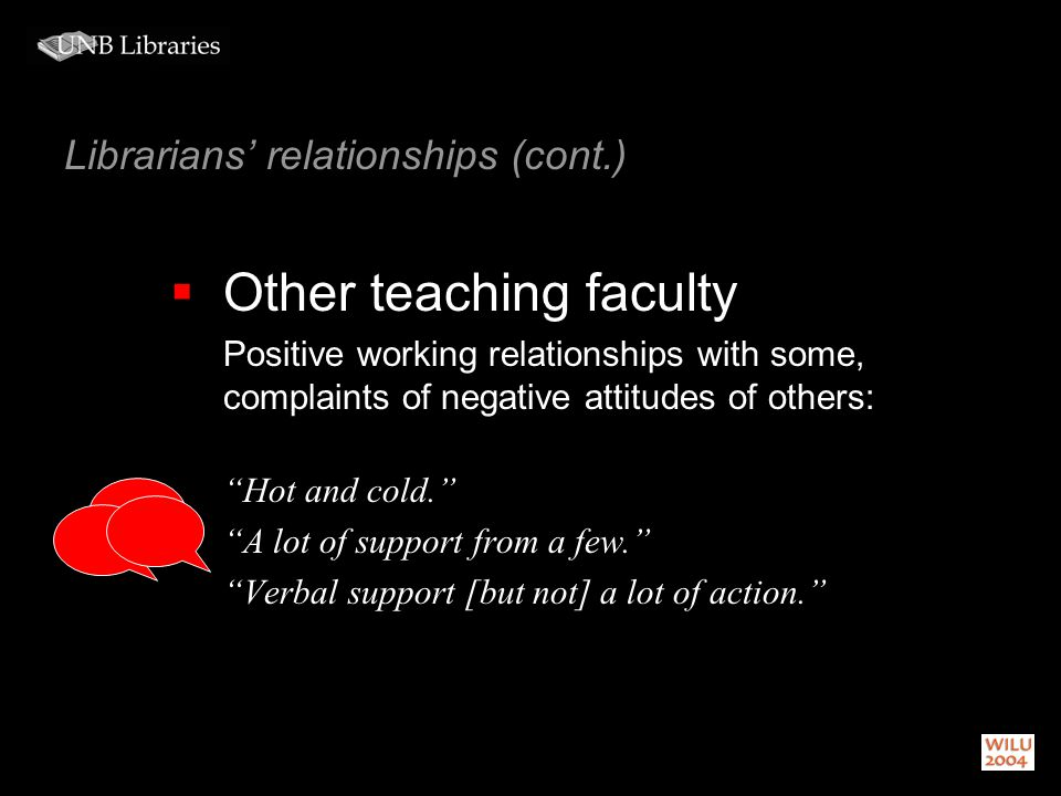 Librarians relationships (cont.) Other teaching faculty Positive working relationships with some, complaints of negative attitudes of others: Hot and