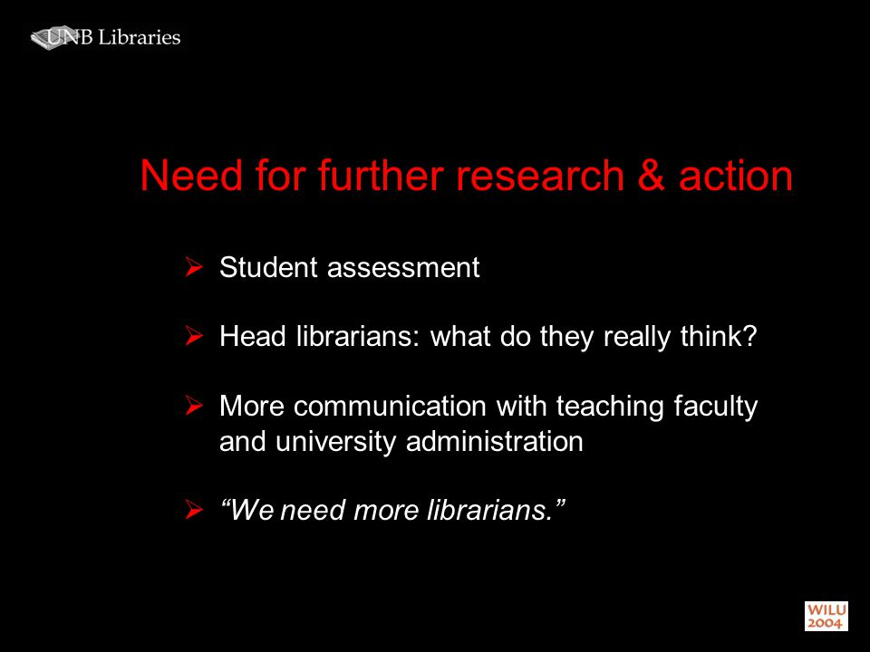 Need for further research & action Student assessment Head librarians: what do they really think.