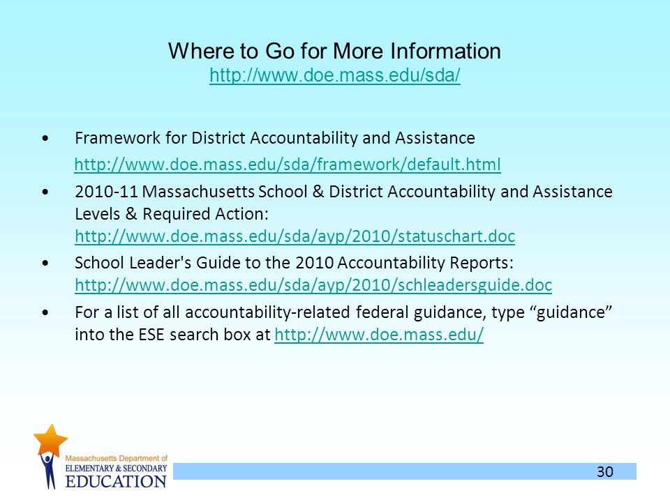 30 Where to Go for More Information http://www.doe.mass.edu/sda/ http://www.doe.mass.edu/sda/ Framework for District Accountability and Assistance http://www.doe.mass.edu/sda/framework/default.html 2010-11 Massachusetts School & District Accountability and Assistance Levels & Required Action: http://www.doe.mass.edu/sda/ayp/2010/statuschart.doc http://www.doe.mass.edu/sda/ayp/2010/statuschart.doc School Leader s Guide to the 2010 Accountability Reports: http://www.doe.mass.edu/sda/ayp/2010/schleadersguide.doc http://www.doe.mass.edu/sda/ayp/2010/schleadersguide.doc For a list of all accountability-related federal guidance, type guidance into the ESE search box at http://www.doe.mass.edu/http://www.doe.mass.edu/