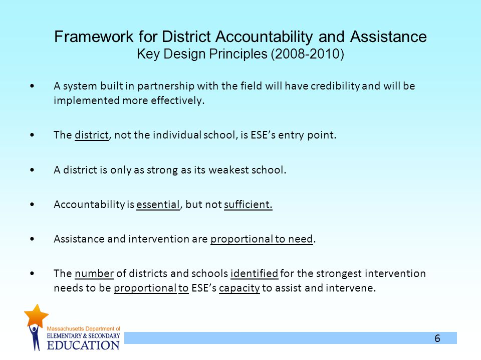 6 Framework for District Accountability and Assistance Key Design Principles (2008-2010) A system built in partnership with the field will have credibility and will be implemented more effectively.