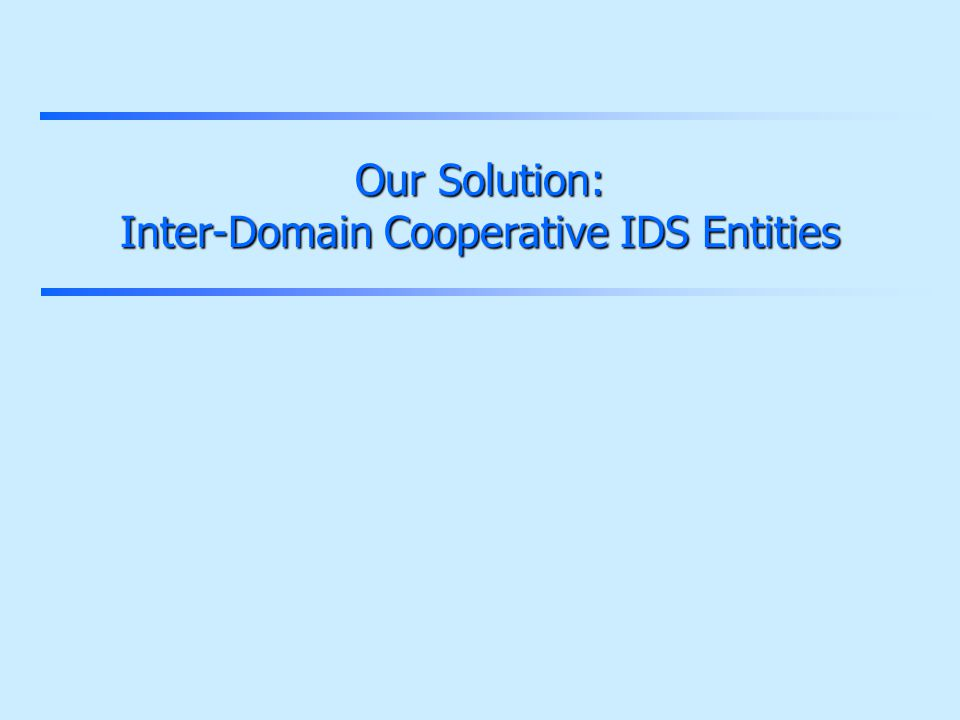 Our Solution: Inter-Domain Cooperative IDS Entities