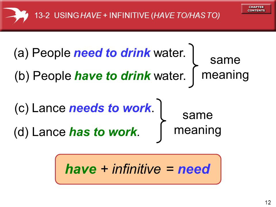 12 (a) People need to drink water. same meaning (b) People have to drink water. (c) Lance needs to work. (d) Lance has to work. same meaning have + in