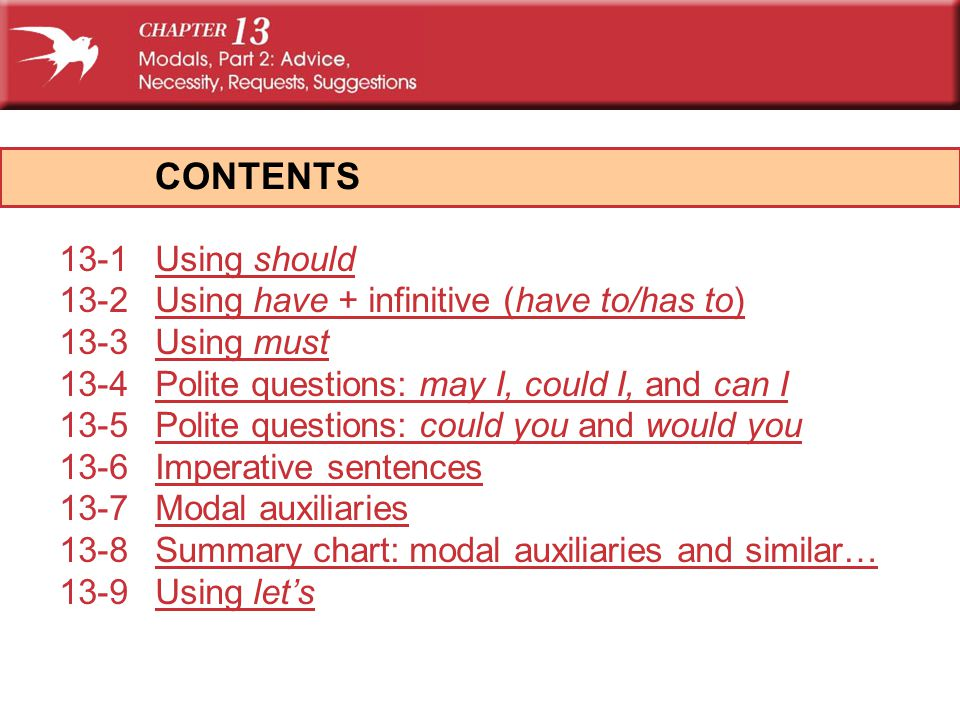 CONTENTS 13-1Using shouldUsing should 13-2Using have + infinitive (have to/has to)Using have + infinitive (have to/has to) 13-3Using mustUsing must 13