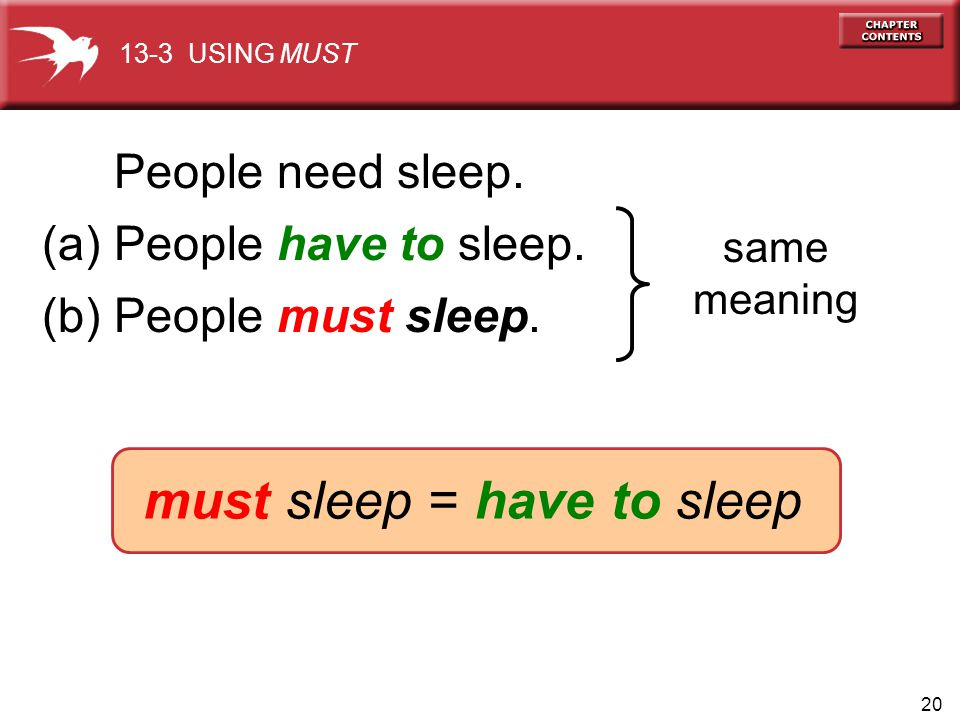 20 (a) People have to sleep. same meaning (b) People must sleep. 13-3 USING MUST must sleep = have to sleep People need sleep.