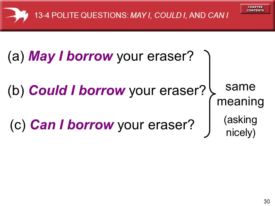 30 (a) May I borrow your eraser? same meaning (asking nicely) (b) Could I borrow your eraser? (c) Can I borrow your eraser? 13-4 POLITE QUESTIONS: MAY