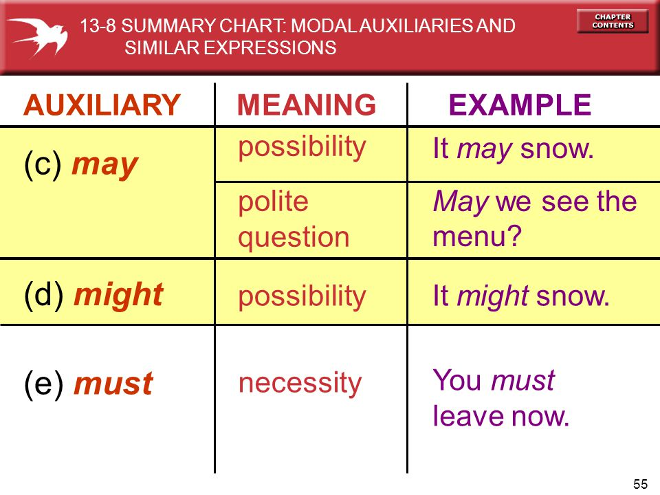 55 AUXILIARY MEANING EXAMPLE (c) may possibility polite question It may snow. May we see the menu? (d) might possibilityIt might snow. (e) must necess