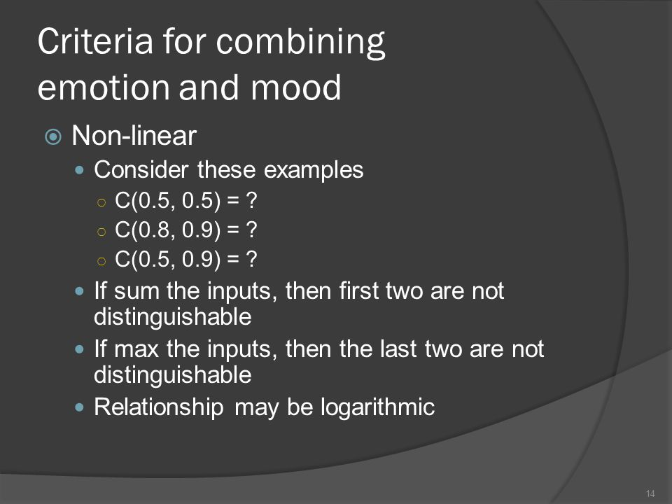 Criteria for combining emotion and mood Non-linear Consider these examples C(0.5, 0.5) = .